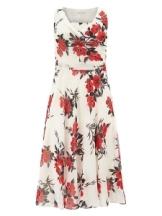 New Womens Multi-Coloured Oriental Poppy Print Dress JA833530 - Jacques Vert Sale 615
