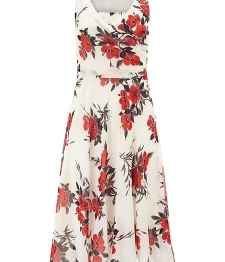 New Womens Multi-Coloured Oriental Poppy Print Dress JA833530 - Jacques Vert Sale 615